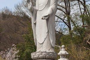 Budda statue in a buddhist temple Songgwangsa, South Korea 12 april 2017