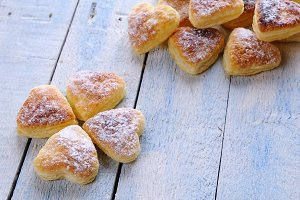 Heart-shaped puff pastry.