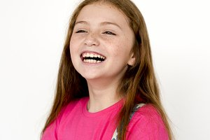 Young girl smiling close up