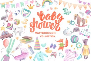 Baby shower watercolor collection