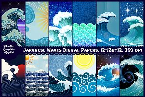 Japanese Style Waves Digital Papers
