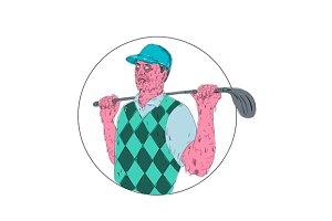 Golfer Golf Club Circle Grime Art
