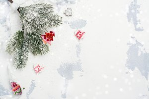 Christmas background with fir tree branch