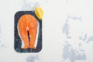 Fresh raw salmon steak