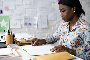 Woman working planning new business