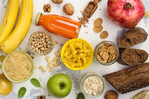 Assortment of products rich of carbohydrates