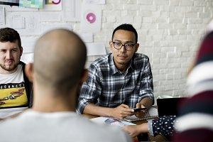 colleagues people brainstorming