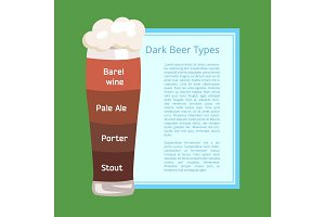 Dark Beer Types Poster Depicting Pilsner Glass