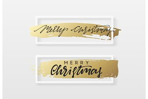 Christmas greeting card with gold handwritten brush stroke.