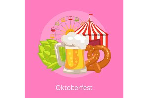 Oktoberfest Vector Illustration Food and Drinks