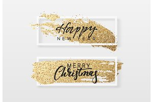 merry christmas and happy new year greeting card with gold glitter