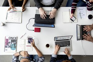 Hands Working Using Laptop