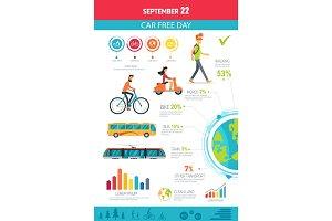 September 22 Car Free Day Vector Illustration