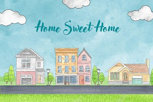 Home Sweet Home Watercolor Mini Set