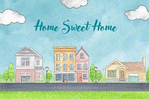 Home Sweet Home Watercolor Mini Set