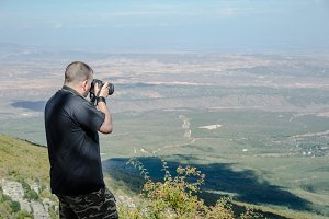 Man taking a picture in the Moncayo