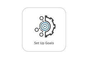 Set Up Goals Icon. Flat Design.