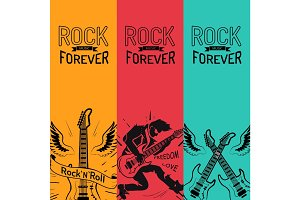 Rock Music Forever Set Creative Colorful Banners