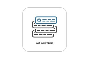 Ad Auction Icon. Flat Design.