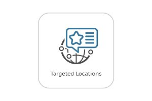 Targeted Locations Icon. Flat Design.