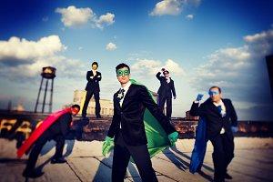 Businessmen in superhero costume