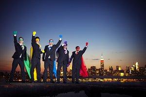 Businessmen in superherp costume