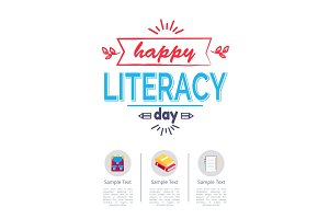 Happy Literacy Day Poster with Icons of Stationery