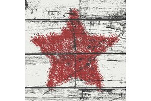 Bold Star Stamp wood Red