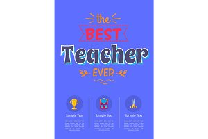 Best Teacher Ever Poster with Icons of Golden Cup