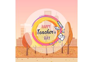 Happy Teacher's Day Wish Vector Illustration