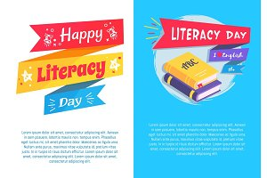 Happy Literacy Day Set Poster Text I Love English