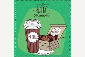 Coffee in paper cup and cake in carton box