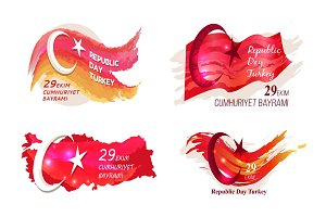 Republic Day Turkey 29 October Vector Illustration