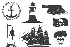 Pirates Decorative Vintage Icons Set