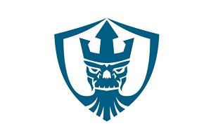 Neptune Skull Trident Crown Crest