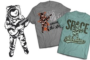 Astronaut T-shirts And Poster Labels