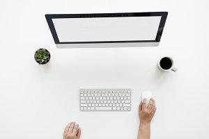 Ariel view of using a desktop