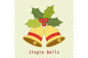Cute Christmas bells with holly berry as retro fabric applique in shabby chic style