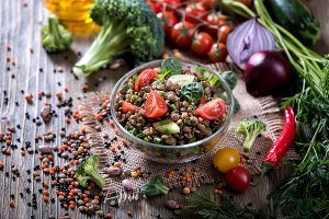 Lentil healthy vegan salad