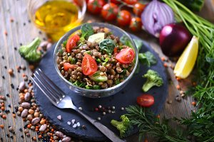 Lentil grain salad, healthy snack