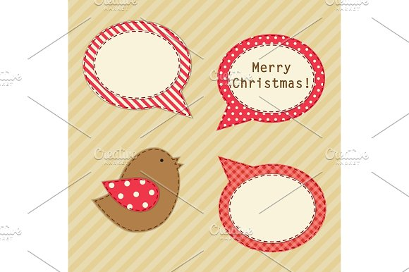Cute Fabric Paradise Birds As Retro Fabric Applique In Shabby Chic Style In Traditional Christmas Colors
