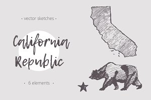 Set of California sketches