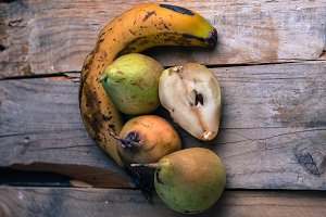 Still life of mature fruits