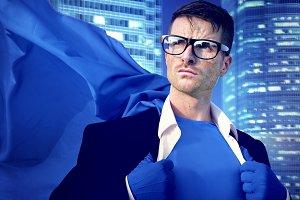 Businessman in superhero costume