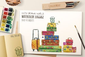 Watercolor Retro Luggage