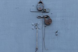 Old door with a lock
