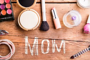 Mothers day composition. Beauty products on table. Studio shot.