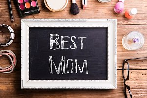Mother day composition. Picture frame. Beauty products. Studio s