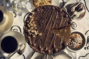 Chocolate cakes and Coffee table wit