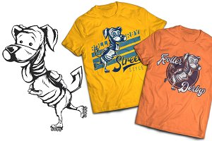 Roller Dog T-shirt And Poster Labels